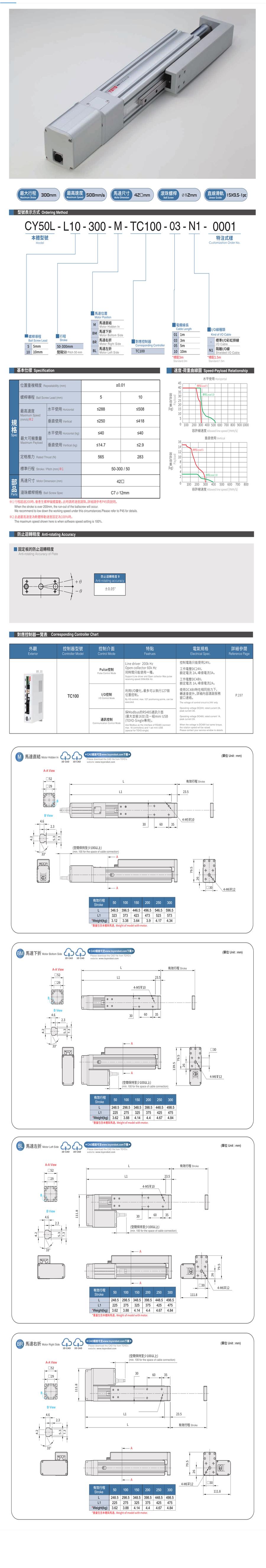 TOYO伺服电动缸CY50L