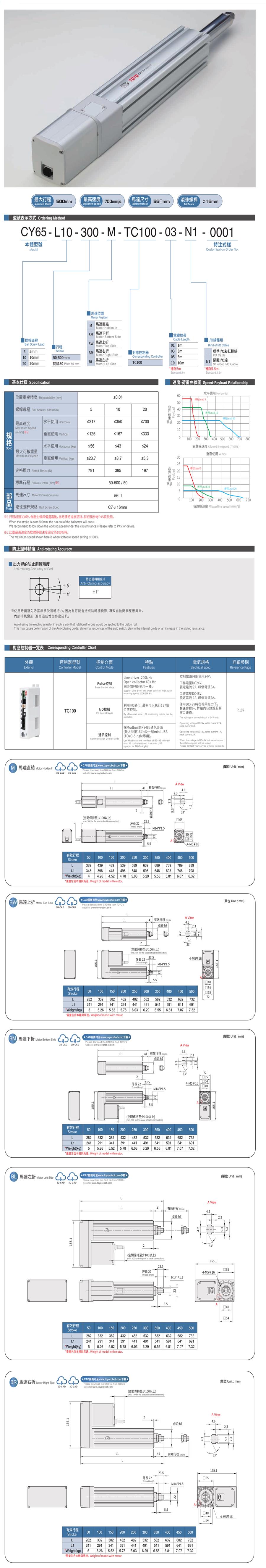 TOYO伺服电动缸CY65